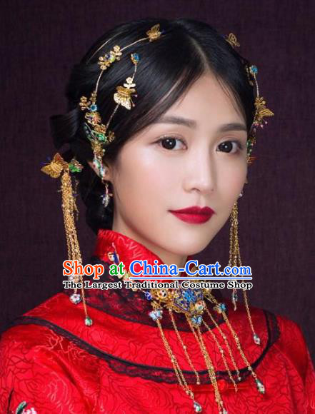 Top Grade Chinese Ancient Bride Wedding Tassel Hairpins Traditional Hair Accessories Headdress for Women