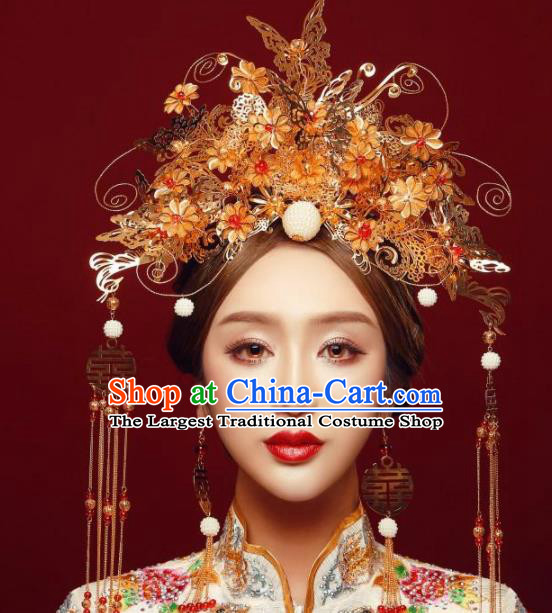 Top Grade Chinese Ancient Bride Wedding Golden Butterfly Phoenix Coronet Traditional Hair Accessories Headdress for Women