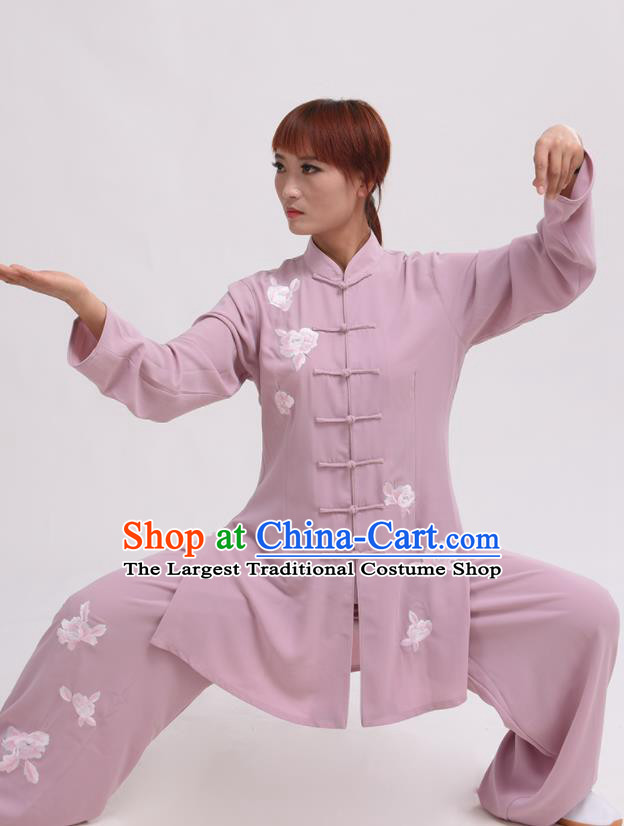 Chinese Traditional Tai Chi Pink Costume Martial Arts Tai Ji Competition Clothing for Women