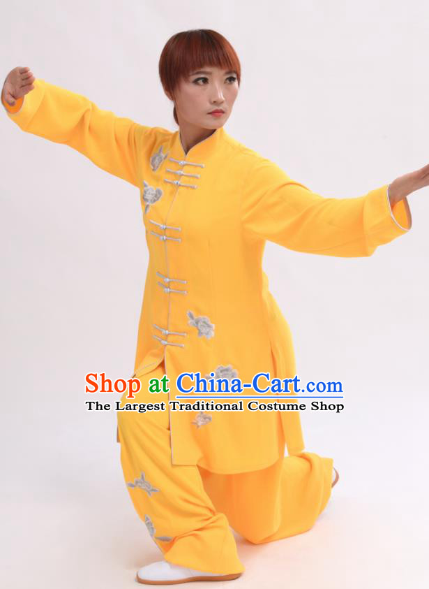 Chinese Traditional Tai Chi Yellow Costume Martial Arts Tai Ji Competition Clothing for Women