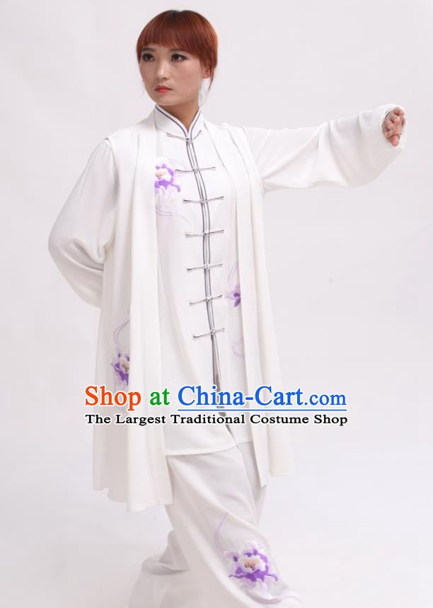 Chinese Traditional Tai Chi Printing Purple Peony Costume Martial Arts Tai Ji Competition Clothing for Women
