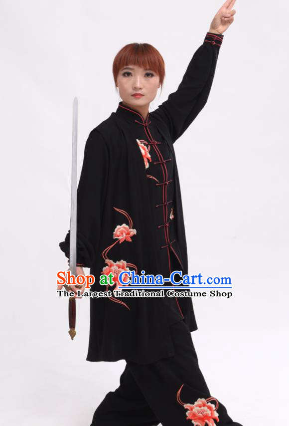 Chinese Traditional Tai Chi Printing Peony Black Costume Martial Arts Tai Ji Competition Clothing for Women