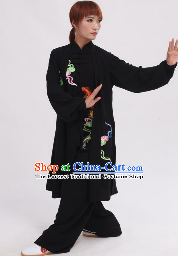 Chinese Traditional Tai Chi Printing Phoenix Black Costume Martial Arts Tai Ji Competition Clothing for Women