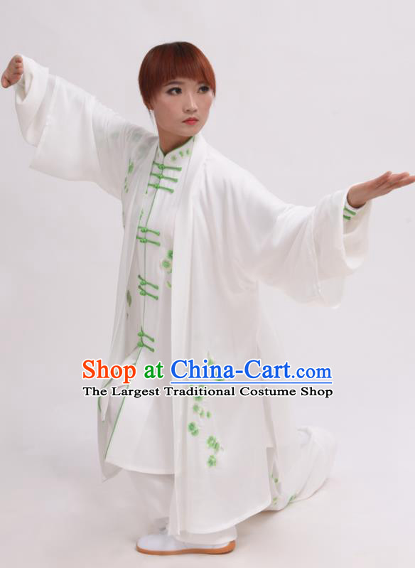 Chinese Traditional Tai Chi White Costume Martial Arts Tai Ji Competition Clothing for Women
