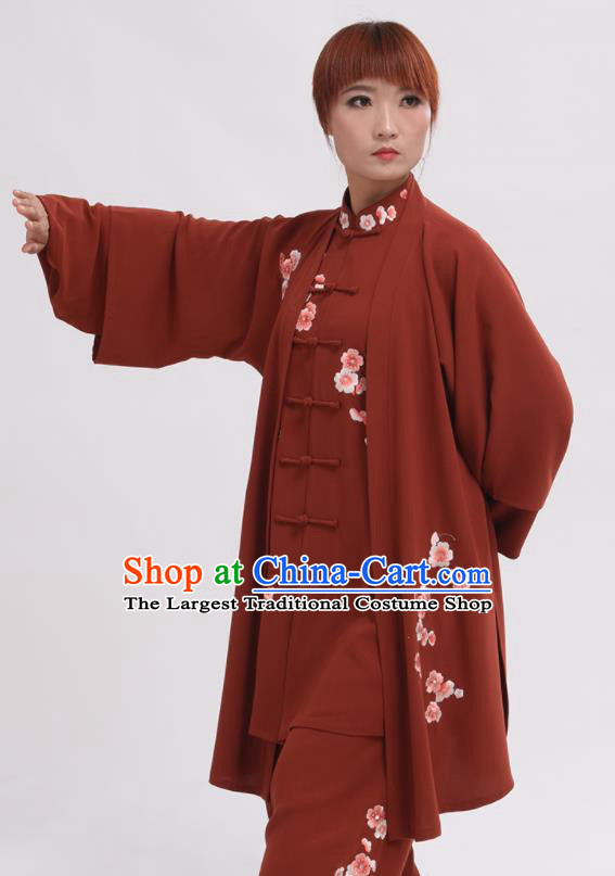 Chinese Traditional Tai Chi Rust Red Costume Martial Arts Tai Ji Competition Clothing for Women