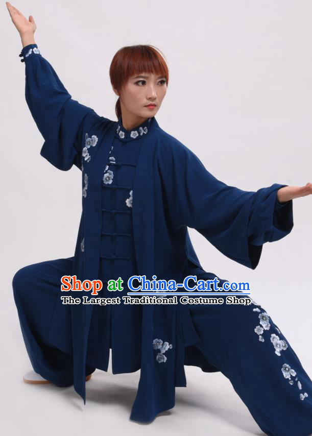 Chinese Traditional Tai Chi Deep Blue Costume Martial Arts Tai Ji Competition Clothing for Women