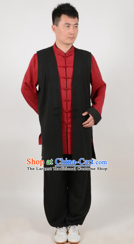 Chinese Traditional Tang Suit Costume Martial Arts Tai Ji Competition Clothing for Men
