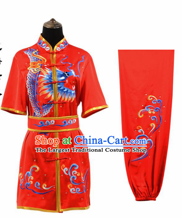 Chinese Traditional Tang Suit Embroidered Dragon Red Costume Martial Arts Tai Ji Competition Clothing for Men