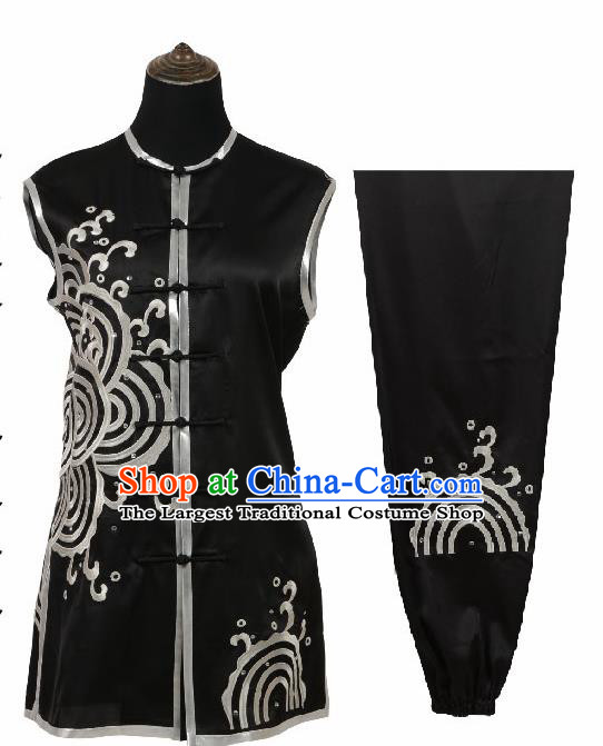 Chinese Traditional Tang Suit Embroidered Black Costume Martial Arts Tai Ji Competition Clothing for Men
