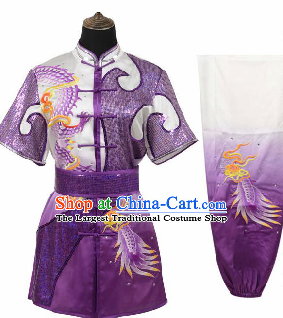 Chinese Traditional Tang Suit Embroidered Dragon Purple Costume Martial Arts Tai Ji Competition Clothing for Men