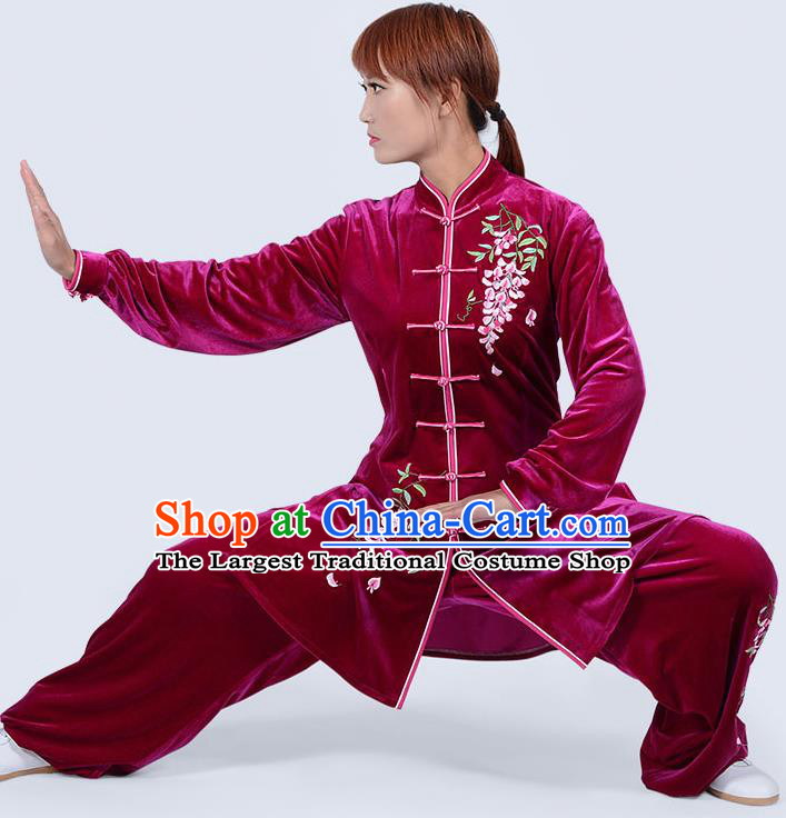 Chinese Traditional Kung Fu Embroidered Rosy Pleuche Costume Martial Arts Tai Ji Competition Clothing for Women