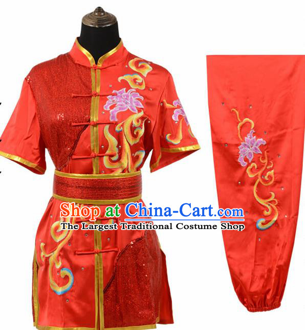 Chinese Traditional Tang Suit Embroidered Peony Red Costume Martial Arts Tai Ji Competition Clothing for Men