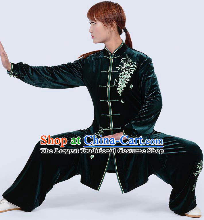 Chinese Traditional Kung Fu Embroidered Green Pleuche Costume Martial Arts Tai Ji Competition Clothing for Women