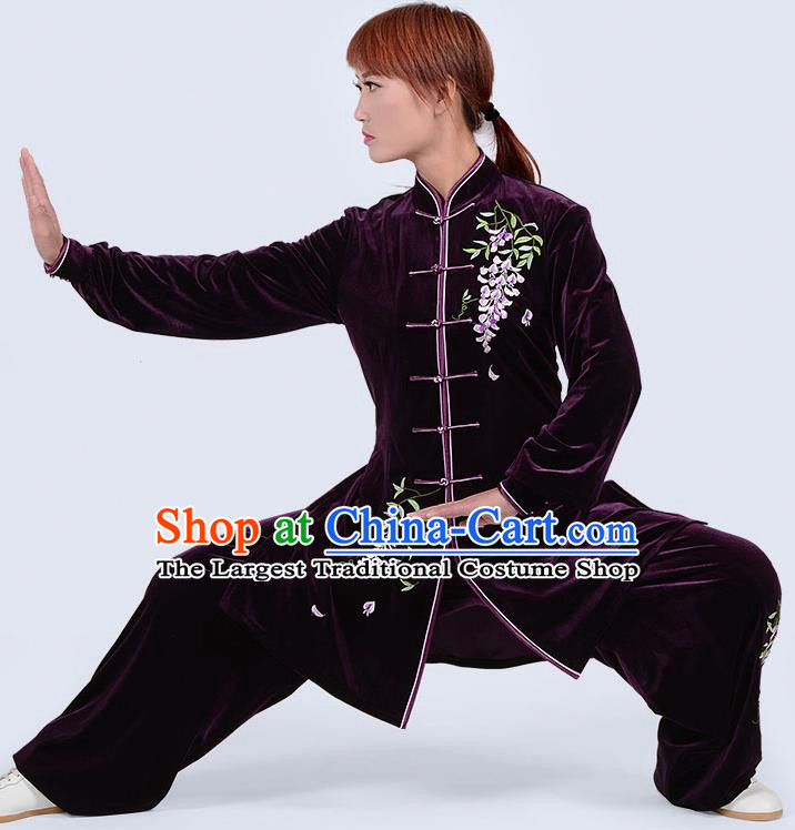 Chinese Traditional Kung Fu Embroidered Purple Pleuche Costume Martial Arts Tai Ji Competition Clothing for Women