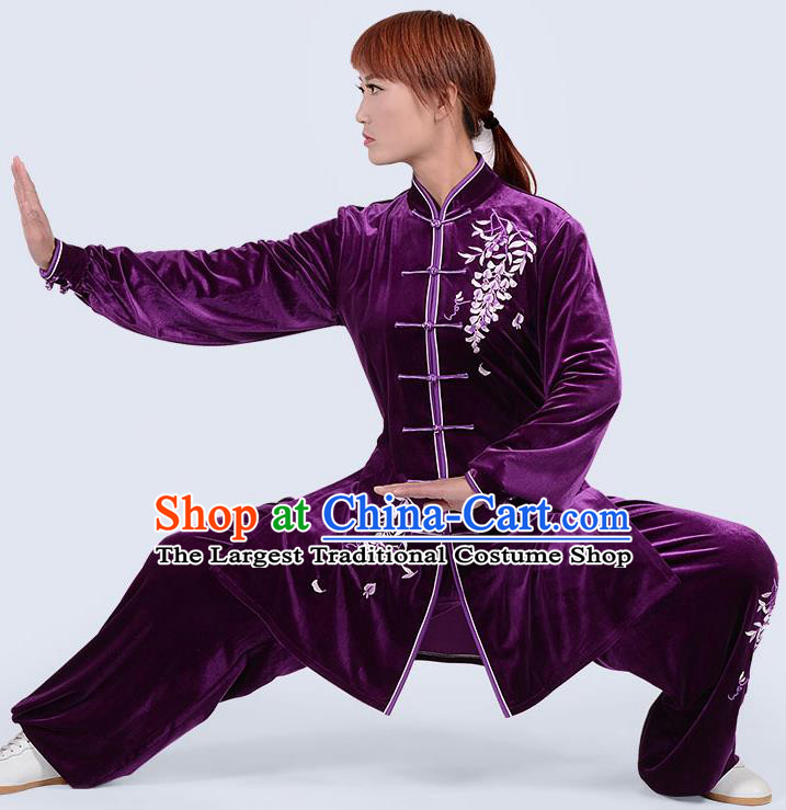 Chinese Traditional Kung Fu Embroidered Deep Purple Pleuche Costume Martial Arts Tai Ji Competition Clothing for Women