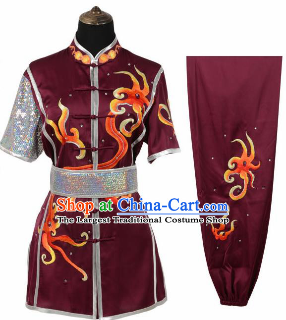 Chinese Traditional Tang Suit Embroidered Wine Red Costume Martial Arts Tai Ji Competition Clothing for Men