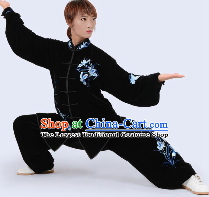 Chinese Traditional Kung Fu Velvet Costume Martial Arts Tai Ji Competition Printing Blue Orchid Clothing for Women