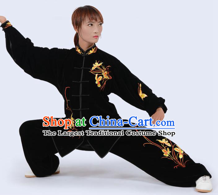 Chinese Traditional Kung Fu Velvet Costume Martial Arts Tai Ji Competition Printing Yellow Orchid Clothing for Women