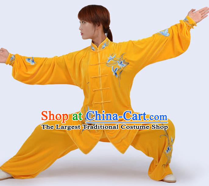Chinese Traditional Kung Fu Yellow Velvet Costume Martial Arts Tai Ji Competition Printing Orchid Clothing for Women