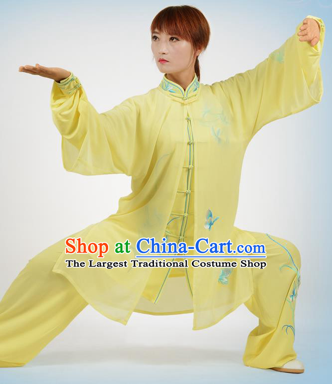 Chinese Traditional Kung Fu Printing Orchid Yellow Costume Martial Arts Tai Ji Competition Clothing for Women