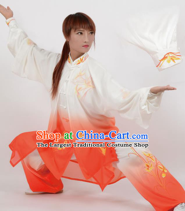 Chinese Traditional Kung Fu Printing Orchid Red Costume Martial Arts Tai Ji Competition Clothing for Women