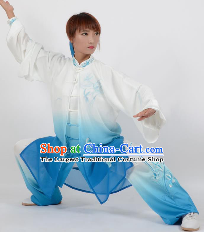 Chinese Traditional Kung Fu Printing Orchid Blue Costume Martial Arts Tai Ji Competition Clothing for Women