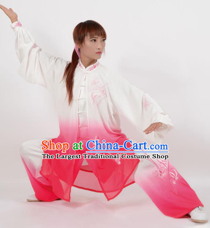 Chinese Traditional Kung Fu Printing Orchid Rosy Costume Martial Arts Tai Ji Competition Clothing for Women