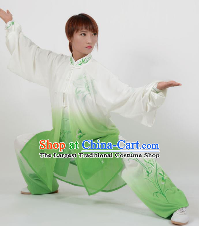 Chinese Traditional Kung Fu Printing Orchid Green Costume Martial Arts Tai Ji Competition Clothing for Women