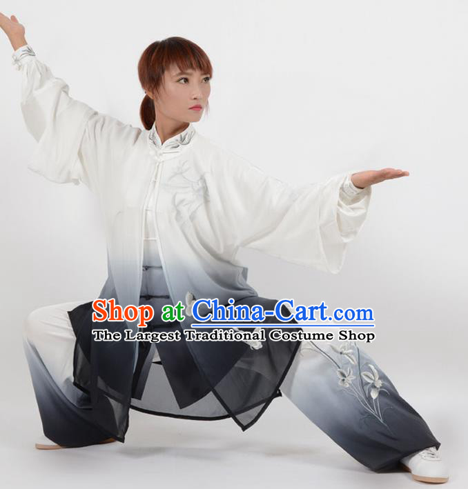 Chinese Traditional Kung Fu Embroidered Orchid Black Costume Martial Arts Tai Ji Competition Clothing for Women