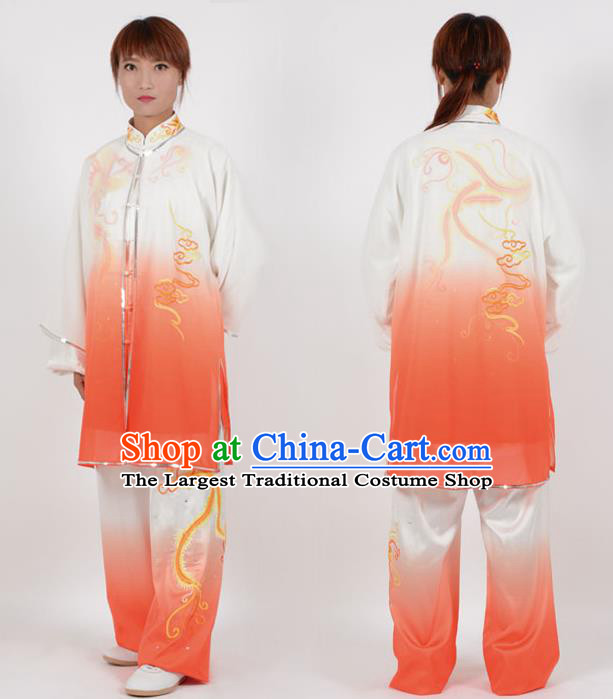 Chinese Traditional Kung Fu Embroidered Phoenix Orange Costume Martial Arts Tai Ji Competition Clothing for Women