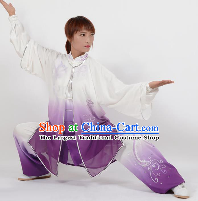 Chinese Traditional Kung Fu Embroidered Phoenix Purple Costume Martial Arts Tai Ji Competition Clothing for Women
