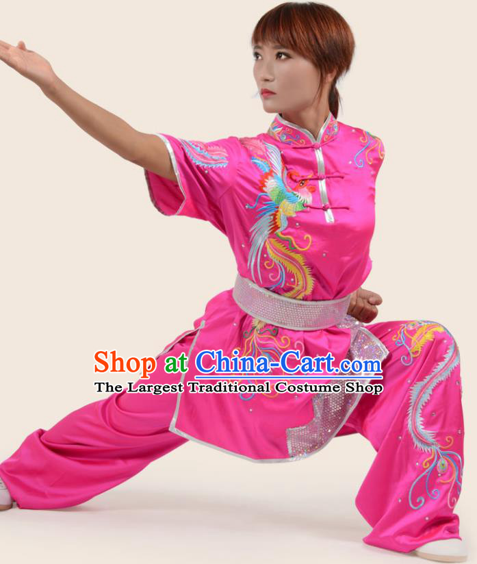 Chinese Traditional Kung Fu Embroidered Phoenix Rosy Costume Martial Arts Competition Clothing for Women