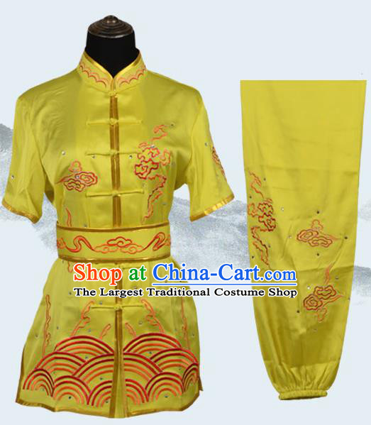 Chinese Traditional Kung Fu Embroidered Clouds Yellow Costume Martial Arts Tai Ji Competition Clothing for Men