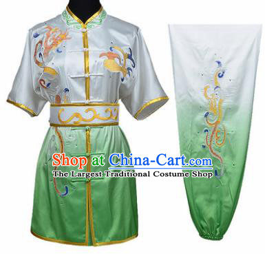 Chinese Traditional Kung Fu Embroidered Clouds Green Costume Martial Arts Tai Ji Competition Clothing for Men