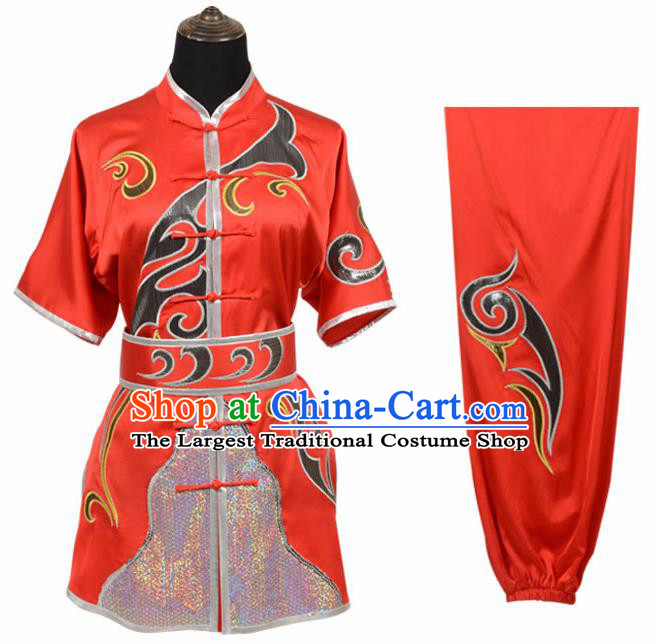 Chinese Traditional Kung Fu Embroidered Red Costume Martial Arts Tai Ji Competition Clothing for Men