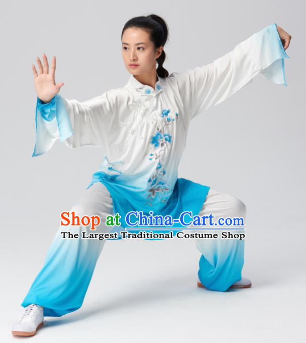 Chinese Traditional Tai Chi Group Embroidered Blue Costume Martial Arts Competition Clothing for Women