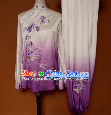 Chinese Traditional Tai Chi Group Embroidered Purple Costume Martial Arts Competition Clothing for Women