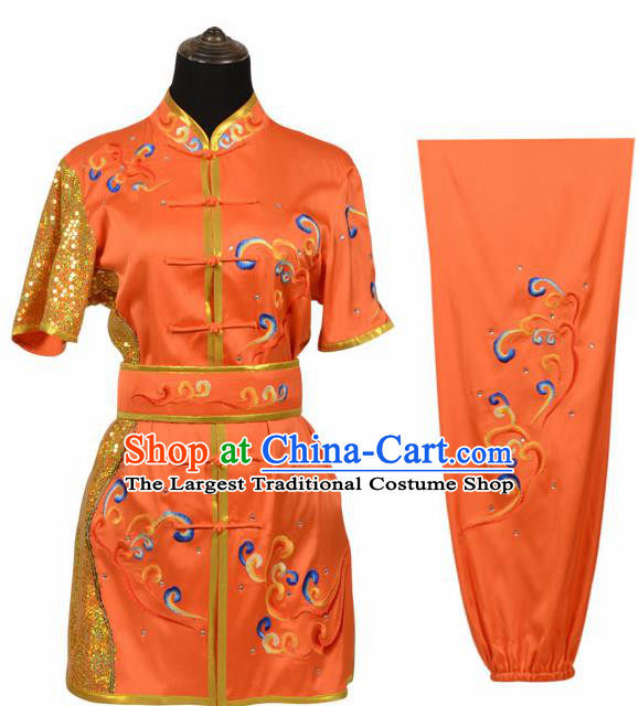 Chinese Traditional Kung Fu Orange Costume Martial Arts Tai Ji Competition Clothing for Women