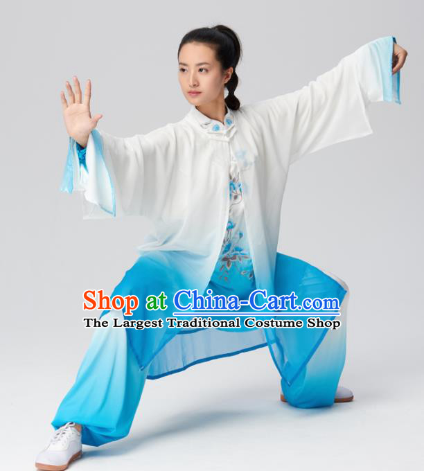 Chinese Traditional Kung Fu Tai Chi Group Embroidered Blue Costume Martial Arts Competition Clothing for Women