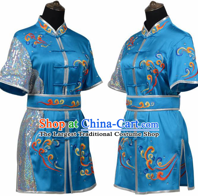 Chinese Traditional Kung Fu Blue Costume Martial Arts Tai Ji Competition Clothing for Women