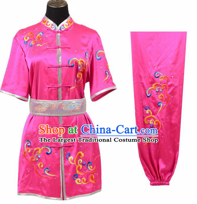 Chinese Traditional Kung Fu Rosy Costume Martial Arts Tai Ji Competition Clothing for Women