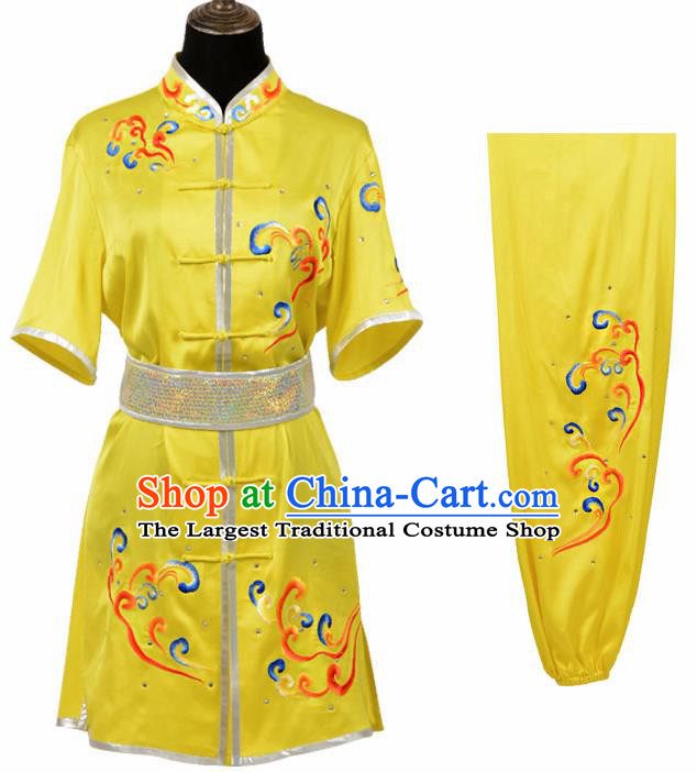 Chinese Traditional Kung Fu Yellow Costume Martial Arts Tai Ji Competition Clothing for Women