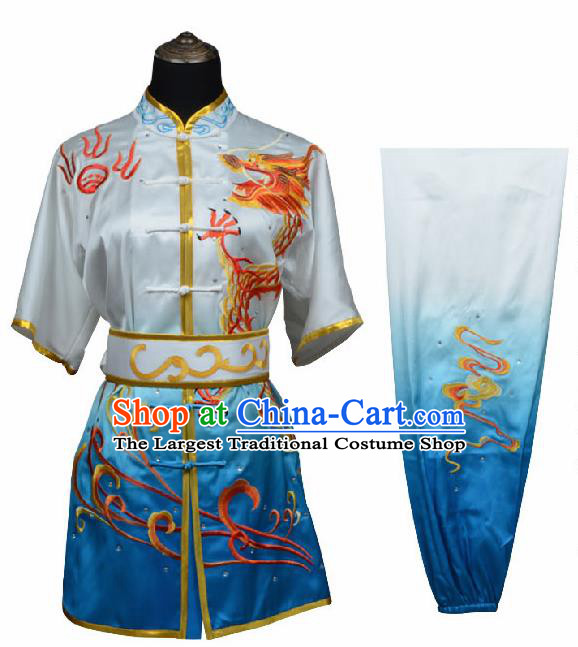 Chinese Traditional Kung Fu Embroidered Dragon Blue Costume Martial Arts Tai Ji Competition Clothing for Men