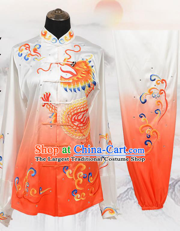 Chinese Traditional Kung Fu Embroidered Orange Costume Martial Arts Tai Ji Competition Clothing for Men