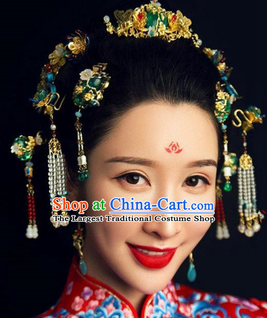 Handmade Chinese Ancient Bride Green Glass Hair Combs Traditional Hair Accessories Headdress for Women
