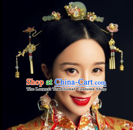 Handmade Chinese Ancient Jade Hair Combs Hairpins Traditional Hair Accessories Headdress for Women