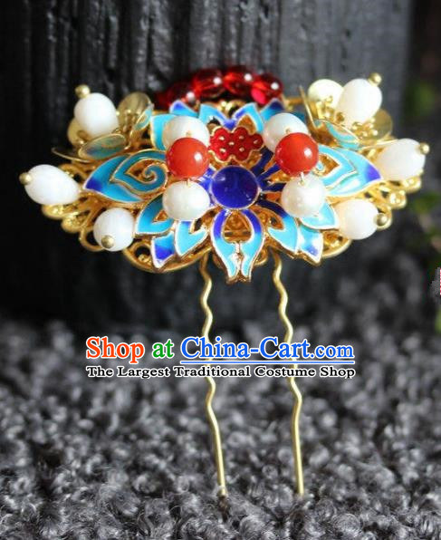 Handmade Chinese Ancient Blueing Hairpins Traditional Hair Accessories Headdress for Women