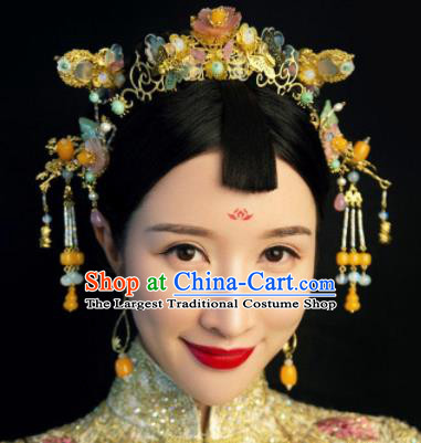 Handmade Chinese Ancient Hairpins Golden Hair Clasp Traditional Hair Accessories Headdress for Women