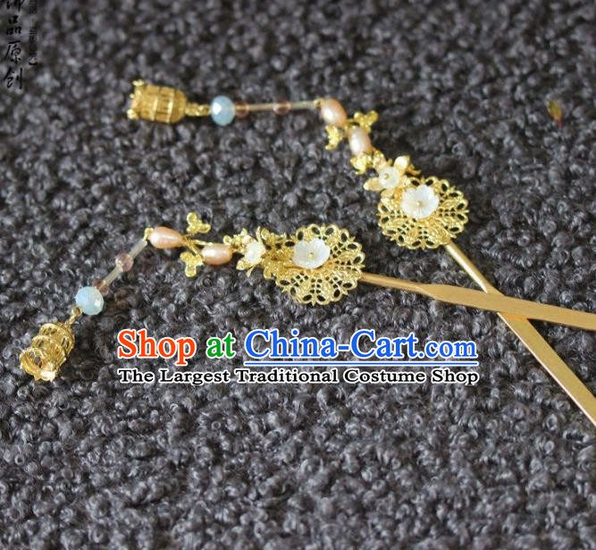 Handmade Chinese Ancient Pearls Golden Hairpins Traditional Hair Accessories Headdress for Women