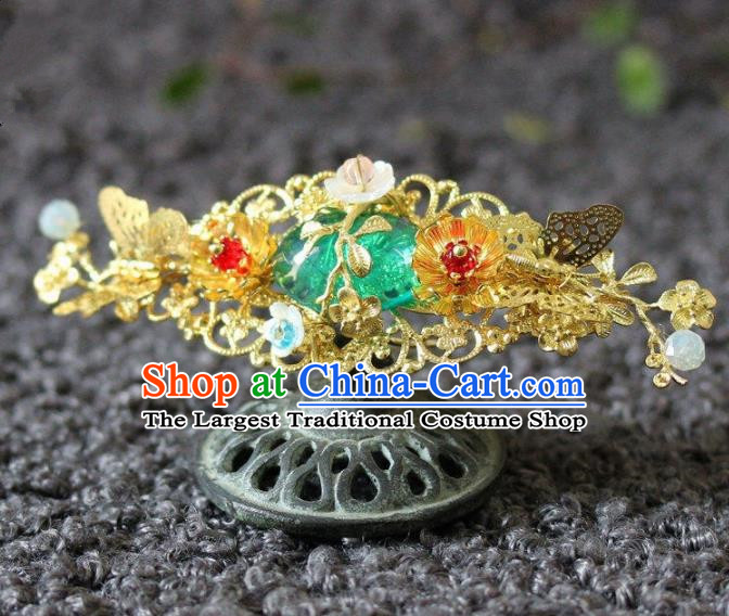 Handmade Chinese Ancient Green Grass Hairpins Traditional Hair Accessories Headdress for Women